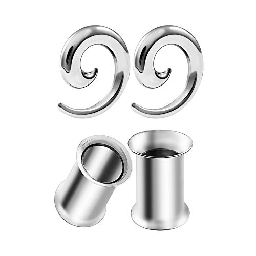 - BIG GAUGES 2 Pairs Surgical Steel 2gauges 6 mm Spiral Taper Expander Double Flared Saddle Tunnel Piercing Ear Stretcher Plugs BG8254