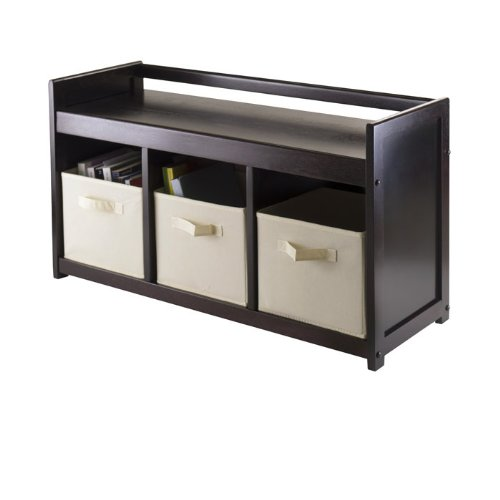 - Winsome Addison Storage Bench with 3 Foldable Baskets