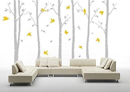 Seis Grandes árboles de abedul vinilo adhesivo de pared amarillo ...