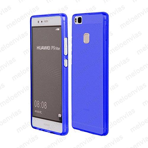 MELOENVIAS Funda Carcasa para Huawei P9 Lite Gel TPU Liso Mate Color Azul