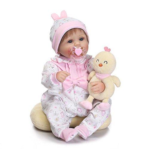 Medylove 17 inch Reborn Baby Dolls Girl Silicone Vinyl Baby Lifelike Reborn Doll Adorable Newborn