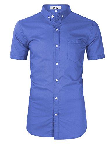 MrWonder Men's Casual Slim Fit Button Down Dress Shirt Long Sleeve Solid Oxford Shirt (XL, Short Sleeve Blue) by MrWonder