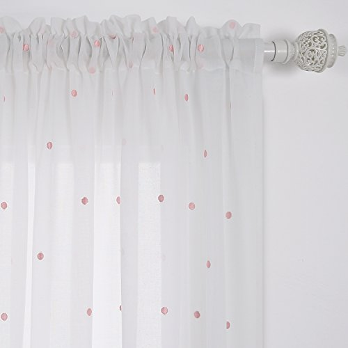Deconovo Curtains Embroidered Pink Circles Faux India White Cotton Curtains Rod Pocket Sheer Curtain Panels for Bed Room 52W x 84L Inch White 1 Pair