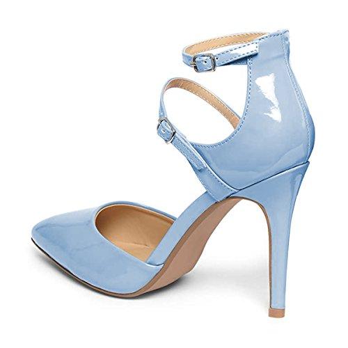 Zapatos De Tacón De Aguja Con Punta Fina De Las Mujeres De Fsj Bombas De Doble Tobillo Con Tirantes Del Partido Tallas 4-15 Us Light Blue