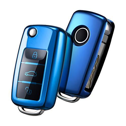 OATSBASF Autosleutelhoes VW,VW Golf sleutelbox, sleutelhoes cover voor VW Polo Passat Skoda Seat 3 toetsen (blauw)