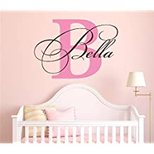 "Nursery Custom Name and Initial Wall Decal Sticker 28"" W by 20"" H, Girl Name Wall Decal, Girls Name, Wall Decor, Personalized, Girls Name Decor, Nursery Bedroom Baby Decor PLUS FREE HELLO DOOR DECAL"