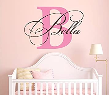 Personalised Name Bedroom Door Sticker Wall Girls Room Childrens Pink Kids 9