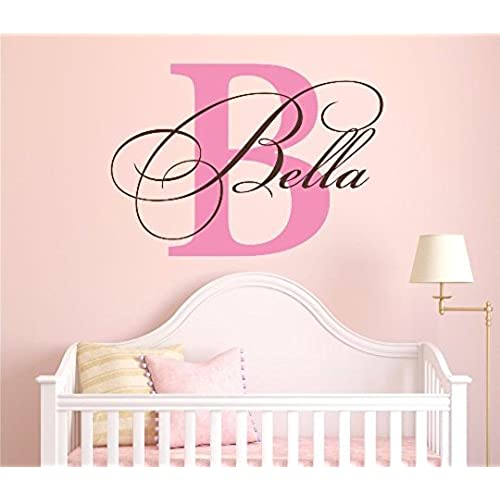 Nursery custom name and initial wall decal sticker 36 w by 26 h girl name wall decal girls name wall decor personalized girls name decor