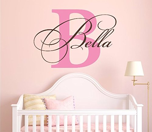 "Nursery Custom Name and Initial Wall Decal Sticker 36"" W by 26"" H, Girl Name Wall Decal, Girls Name, Wall Decor, Personalized, Girls Name Decor, Nursery Bedroom Baby Decor PLUS FREE HELLO DOOR DECAL from Decor Designs Decals"