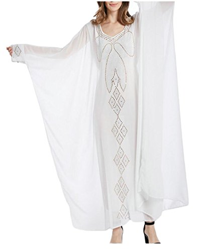 Womens Maxi Cocktail Long Evening Casual White Formal Sleeve Dress Loose Jaycargogo Uqadw6U