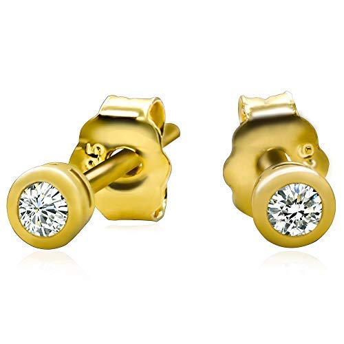14k Yellow Gold Plated 925 Sterling Silver Bezel Set Cubic Zirconia Stud Earrings, 2mm stone