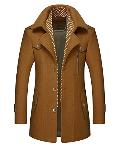 Chartou Men's Stylish Scarf Single Breasted Wool Walker Coat Thick Winter Jacket-6 Colors (Tan, Large)