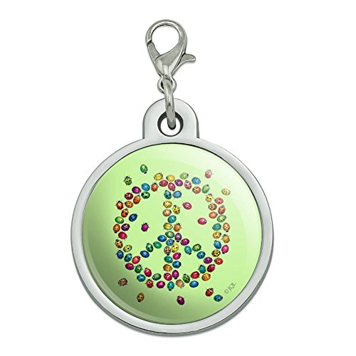 (Graphics and More Lady Bug Rainbow Peace Sign Chrome Plated Metal Pet Dog Cat ID Tag - Large)