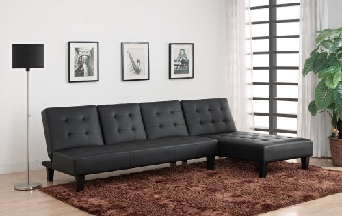 DHP Julia Chaise Lounger, Converts to Sleeper, Black Faux Leather