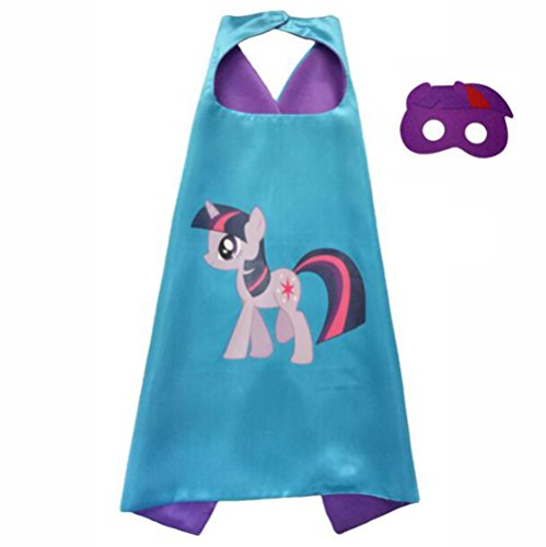 Amknn My Little Pony Cloak and Masks Set Kids Halloween Costume Cloak Cosplay Performance Party Costume (7070 cm, Purple)