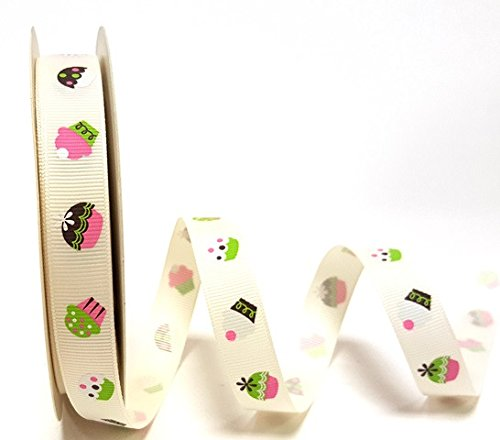 - Berties Bows Cupcake Print on 16mm Ivory Grosgrain Ribbon on 3m Roll