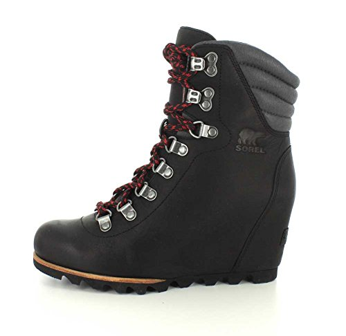 Women's Boots Dark Grey Fawn Leather Conquest Sorel Holiday Wedge Black TqnHxw