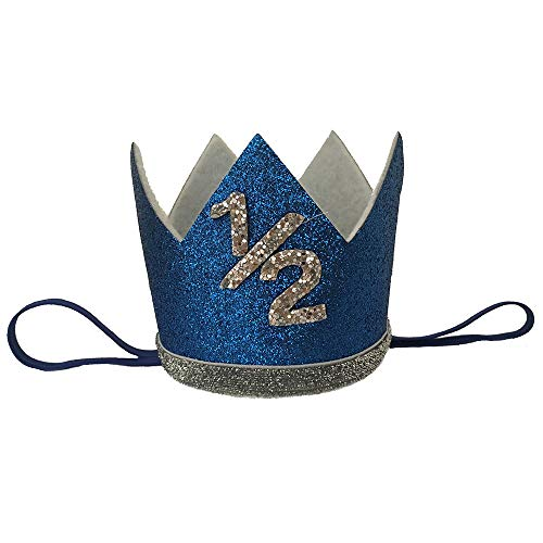 iMagitek Baby Boy 1/2 Birthday Crown Hat, Baby Boy 6 Month Birthday Party Hat Headband]()