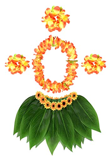 KEFAN Leaf Hula Skirt and Hawaiian Leis Set Grass Skirt with Artificial Hibiscus Flowers for Hula Costume Party -