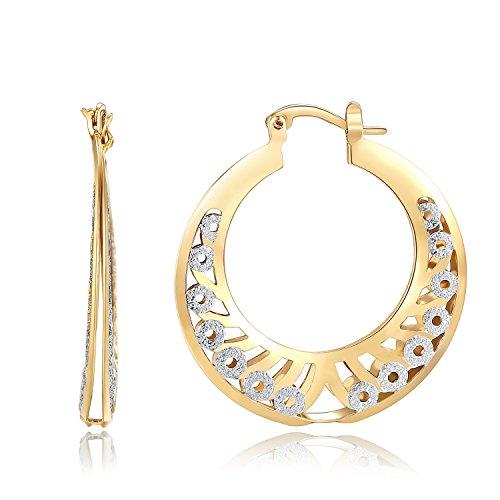 (Orangelove 18K Gold Plated Women's Two-Tone Butterfly Hoop Earrings Wedding Enagement Party Birthday Gift (Lucky Hoop Earrings 35mm))