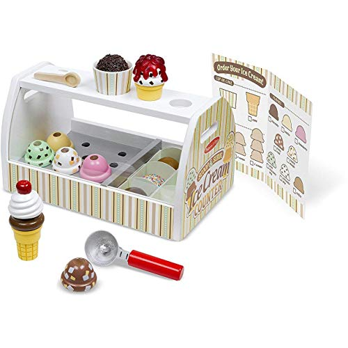 Melissa & Doug Scoop & Serve Ice Cream Counter: Wooden Play Food Set + Free Scratch Art Mini-Pad Bundle (92869)