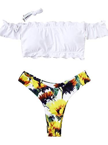 (SOLY HUX Women's Sexy Off Shoulder Lettuce Trim High Leg Bikini Sets Swimsuits Multicolor L)