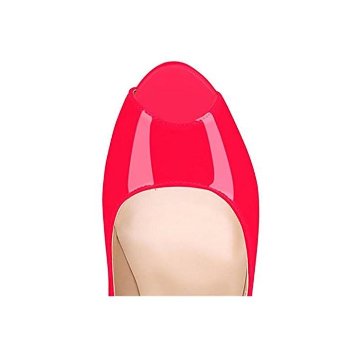 Mnii Le Pompe A Punta Di Peep Toccare Handmade Per Il Vestito Da Partito Cerimonia Nuziale Stiletto Slip Sui Pattini Moda Donne Extreme 37 Rose Red- Elegante E Bello