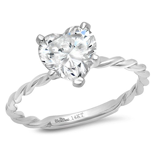 Clara Pucci 2.2 Ct Heart Cut Rope Twisted Knot Wedding Engagement Bridal Anniversary Ring Band 14K White Gold, Size - Heart Ct 2.2
