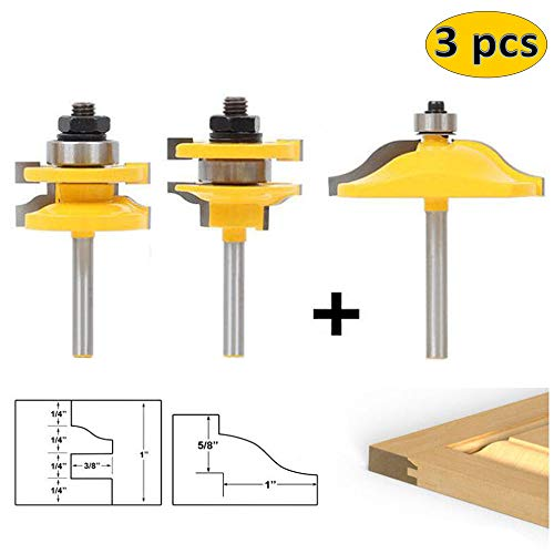 LETBE 3 PCS Router Bit Set, 1/4-Inch Shank Round Over Raised Panel Cabinet Door Ogee Rail and Stile Router Bits, Woodworking Wood Cutter, Wood Carbide Groove Tongue Milling Tool (1/4,HXRD-144B) - Make Raised Panel Doors