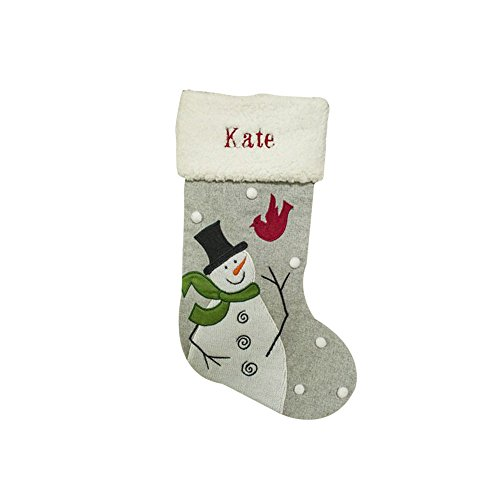 GiftsForYouNow Snowman and Cardinal Personalized Christmas (Personalized Snowman Christmas Stocking)
