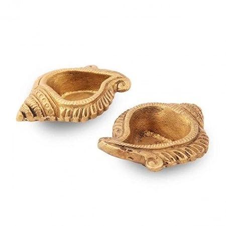 Purpledip Set of 2 Brass Arti Diyas Indian Religious gift (10234)