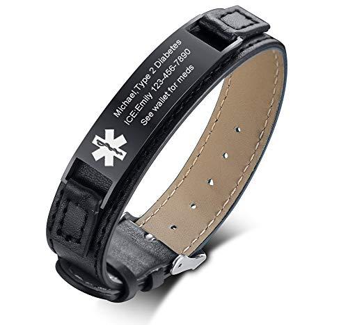 Alert Leather - VNOX Free Engraving-Black Stainless Steel Meidcal Alert ID Tag Genuine Leather Adjustable Wristband Bracelet