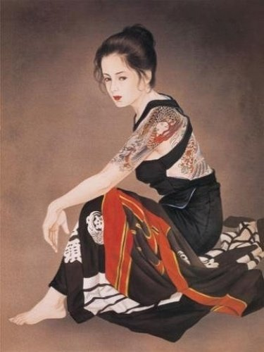 Tattoo Japanese Lady Wall Scroll R44
