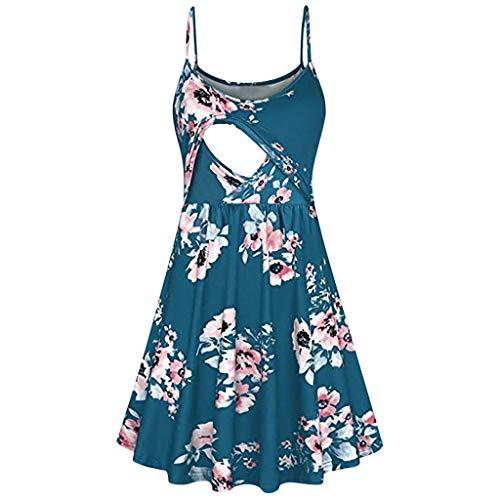 Maternity Dress, Women Pregnant Stripe Dres Tunic Breastfeeding Summer Multi-Mother Maternal Breastfeeding Skirt lkoezi]()
