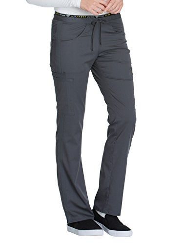 Cherokee Women's Luxe Sport Mid Rise Straight Leg Pull-on Pant, Pewter, Small ()