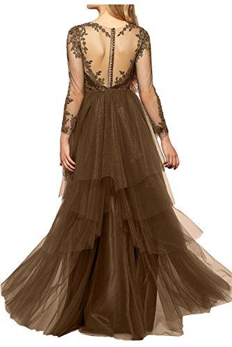Aermel Ivydressing Applikation schwarz Dunkelgruen gedeckt Abendkleid bodenlang Damen lange Promkleid sexuell Tuell Spitze Partykleid knopf qYFq8anr
