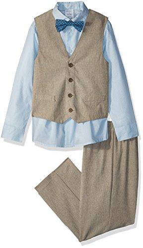 Van Heusen Toddler Boys' Patterned Four-Piece Vest Set, Linen Cornstalk, 4T