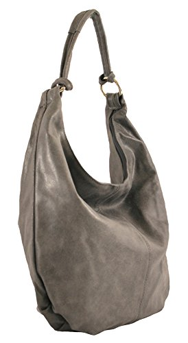 véritable cuir sac 45x35x4cm in Made CTM 100 Italy Femmes cuir en Sac Gris bandoulière TwnBq8g