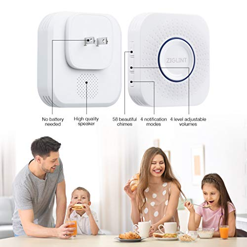 ZIGLINT Wireless Doorbell, No Batteries Required, IP55 Waterproof Door Bell Operating at over 500-feet Range, Door Chime Kit with 2 Receivers, 58 Chimes and 4 Adjustable Volume Levels, White by ZIGLINT (Image #1)
