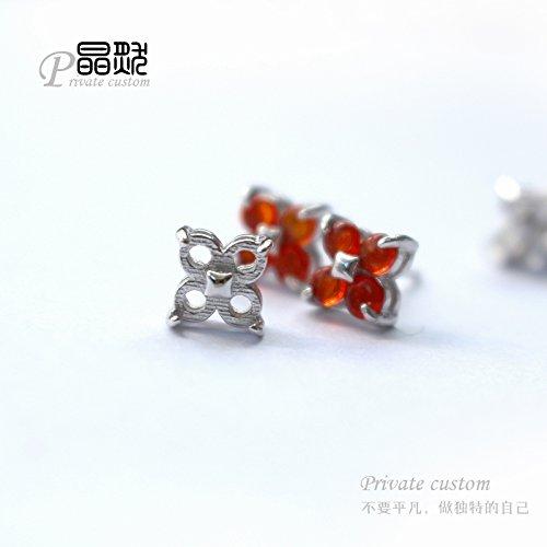 TKHNE -339 925 Sterling Silver Silver 925 earring ear hook amber mosaic Torr (Amber Chandelier Hook Earrings)