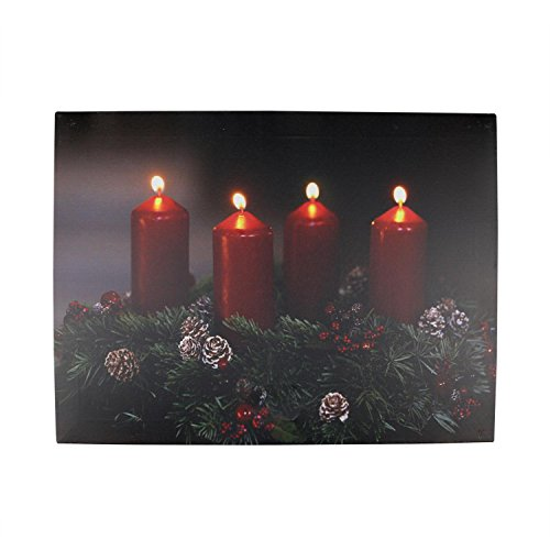 led lighted flickering candle wreath christmas canvas wall art 12 x 1575 - Lighted Outdoor Christmas Wreaths