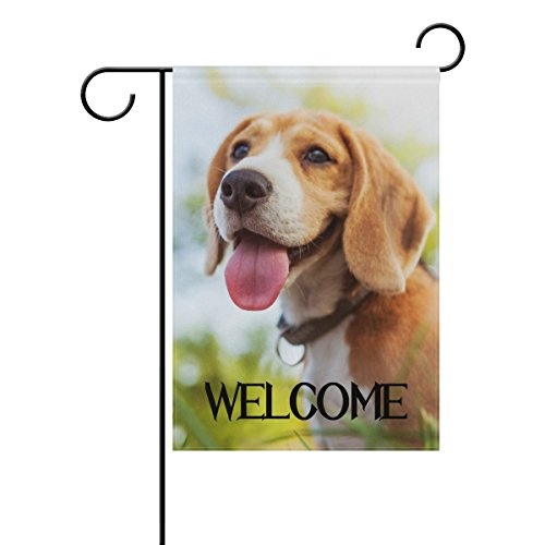 Beagle Garden Flag - TropicalLife Welcome Happy Beagle Puppy Polyester Garden Flag Banner 12 x 18 Inch Double Side Print Home Outdoor Patio Yard Garden Decor Flag