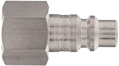 "Dixon Valve D3F3-S Stainless Steel 303 Industrial Interchange Pneumatic Fitting, Nipple, 3/8"" Coupling x 3/8"" - 18 NPTF Female Thread"