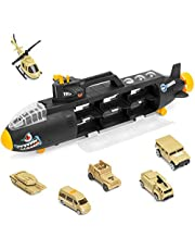 deAO Submarino Militar Tiburón Transportador Maletín Portacoches Submarino de Fuerzas Armadas Camión Tiburón de Combate Incluye 6 Vehiculos Militares