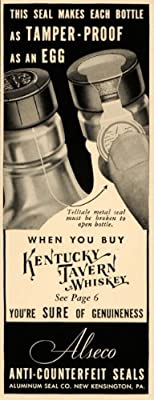 1936 Ad Kentucky Tavern Whiskey Tamper Proof Bottle Art - Original Print Ad