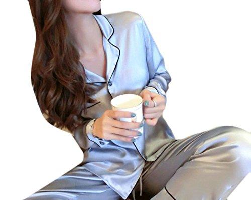 Classic Womens Pajama Set (Cruiize Womens Classic Cozy Silk Satin Long Sleeve Pajama Set Sleepwear Silver XXXL)