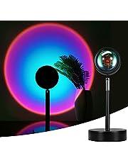 Mydethun Zachód słońca lampa projekcja obrotu 180 stopni tęczowy projektor lampa romantyczny wizualny projektor LED lampka nocna z USB nowoczesny stojak podłogowy salon sypialnia dekoracja (tęczowy fioletowy)