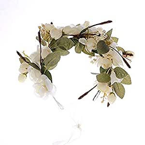 handmade Rose Flower Wreath Crown Halo for Wedding Festivals (Beige-4)