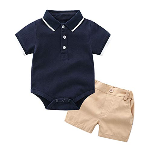 (Toddler Baby Kids Boys Clothes Set T-Shirt Romper Tops Solid Short Pants Outfits Set)