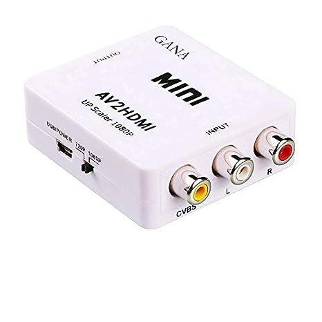 RCA a HDMI, Gana 1080P Mini AV a HDMI Vídeo Audio Adaptador Soporte PAL/NTSC con cable de carga USB para PC Ordenador Portátil Xbox PS4 PS3 TV STB VHS ...